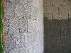 Assemblage de blocs Chaux-chanvre, amorçant un arrondi esthétique
