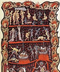 L'une des dernières images de l'Hortus, l'auteure nous propose sa vision de l'Enfer, avec une foule de détails passionnants